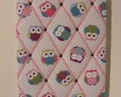 Memo Board Owls, Pink Elastic