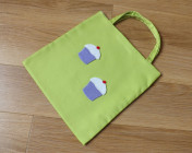 Mini Tote Bag Lime Green Fabric with Lilac Cupcakes