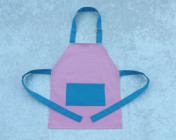 Younger Childs Apron Pink/Turquoise Polycotton Drill