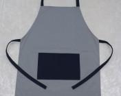 Adult Apron Large Grey/Navy Polycotton Drill