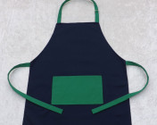 Apron Adult – Navy/Green Polycotton Drill
