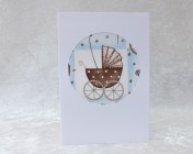 Handmade Fabric Card, Blue Pram