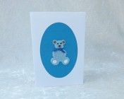 Handmade Fabric Card, Blue Teddy Bear