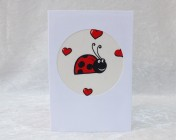 Handmade Fabric Card, Cream Ladybird
