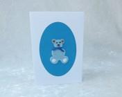 Handmade Fabric Card – Blue Teddy Bear
