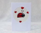 Handmade Fabric Card –  Cream Ladybird