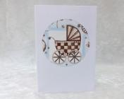 Handmade Fabric Card –  Blue Pram