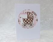 Handmade Fabric Card – Pink Pram