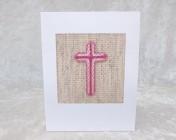 Handmade Embroidered Card – Light/Mid/Dark Pink Cross