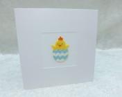 Handmade Felt Card – Yellow Chick/Blue Egg