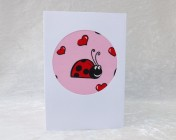 Handmade Fabric Card, Pink Ladybird