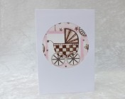 Handmade Fabric Card, Pink Pram