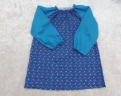 Art Smock 4-6yrs Blue Boats, Turquoise Sleeves