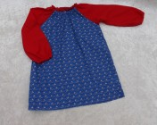Art Smock 4-6yrs Blue Boats, Red Sleeves