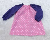Art Smock 6m-3yrs Pink Hearts, Purple Sleeves