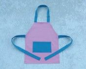 Apron Younger Childs – Pink/Turquoise Polycotton Drill