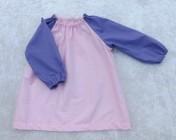 Art Smock 6m-3yrs Pink Spotty, Mauve Sleeves