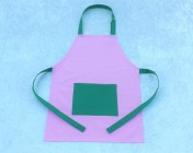 Apron Older Childs – Pink/Green Polycotton Drill