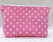 Zipped Bag – Pink with White hearts
