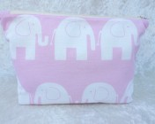Zipped Bag – Pink Elephant Fabric