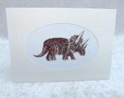 Handmade Fabric Card, Triceratops Dinosaur