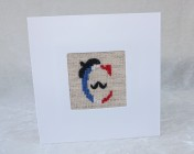 "Handmade Embroidered Card, ""C"" with Beret"