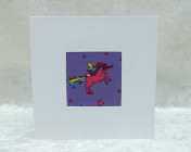 Handmade Fabric Card, Purple Unicorn