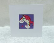 Handmade Fabric Card, Purple Unicorns