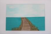 Signed Mounted original Textile Artwork – Boardwalk Sold by Artist