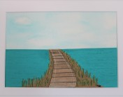Signed Mounted original Textile Artwork – Boardwalk Sold by Artist