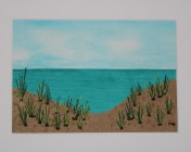 Signed Mounted original Textile Artwork – Sand Dunes Sold by Artist