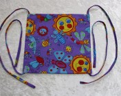 Face Mask, Fabric Straps Purple Bug & Butterfly Fabric