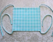 Face Mask, Fabric Straps Pale Turquoise Gingham Fabric