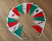 Christmas Bunting 3m Red, Green & 5 hand embellished flags