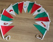 Christmas Bunting 3m Green, Red & 5 hand embellished flags