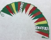 5m 20 Large flag Green, Red, Lime Green, White, Gold Christmas BUNTING