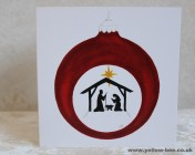 Christmas cards Notelets 5 Printed from an original watercolour NATIVITY BAUBLE