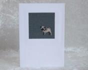 Greetings Card – Sophie Allport Slate Blue Pug Fabric