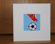 Greetings Card – Blue Football Fabric