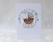 Greetings Card – Baby Blue Pram Fabric