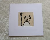 Greetings Card –  Cartoon Cat Fabric
