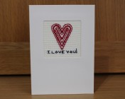 Greetings Card – I Love You! Embroidered Heart Card