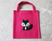 Tote Bag – Cerise Fabric Green Felt Fox