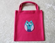Tote Bag – Cerise Fabric Felt Owl