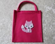 Tote Bag – Cerise Fabric Pink Felt Fox