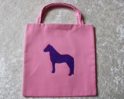 1 Tote Bag – Orchid Pink Fabric Purple Horse Motif