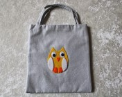 Tote Bag – Silver Fabric Yellow Felt Owl