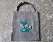 Tote Bag – Silver Fabric Felt Fox