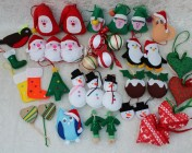 SALE Pack of 36 Handcrafted Felt, Fabric & Wooden Tree decorations