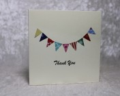 Greetings Card –  5 Beautiful Handmade Paper Bunting Thank you cards
